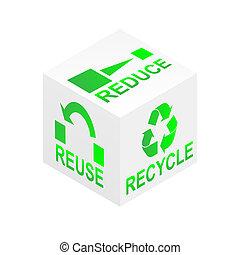 reciclar, cubo, reducir, uso repetido