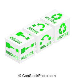 reciclar, cubos, reducir, uso repetido