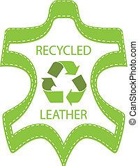 reciclar, cuero, lable