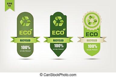 reciclar, ecológico, etiquetas