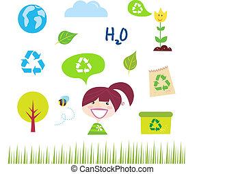 reciclar, ecología, naturaleza, iconos