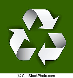 reciclar el símbolo, papel, vector