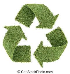 reciclar el símbolo, pasto o césped