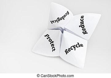 reciclar, en, caja de la fortuna