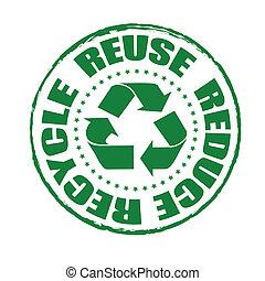 reciclar, estampilla, reducir, uso repetido