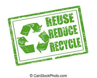 reciclar, estampilla, uso repetido, reducir