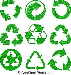 reciclar, garabato, iconos