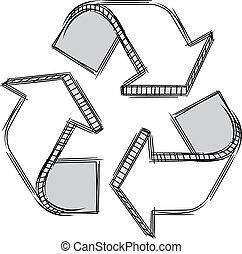 reciclar, garabato, señal
