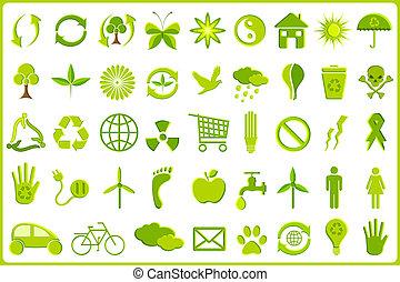 reciclar, icono, conjunto