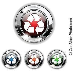 reciclar, icono, vector, botón, illust