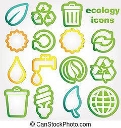 reciclar, iconos, ecología, collectio