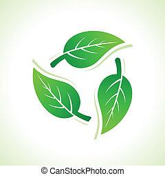 reciclar, iconos, marca, por, hojas