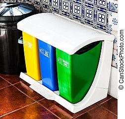 reciclar, latas, cocina, colorido