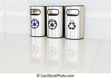 reciclar los compartimientos, con, texto, en, español
