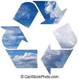 reciclar, mundo, verde, de par en par