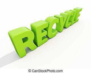 reciclar, palabra, 3d