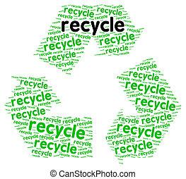 reciclar, palabra, nube, energía renovable, concepto, aislado