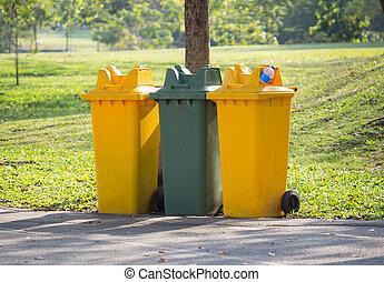 reciclar, parque, cajones