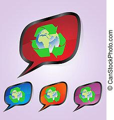 reciclar, pegatina, conjunto