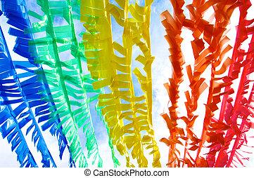 reciclar, plástico, 2, colorido, tira