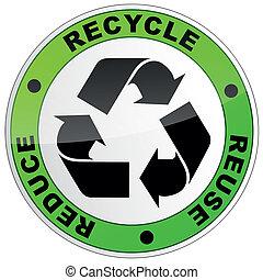 reciclar, redondo, señal