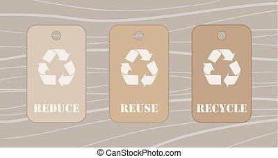 reciclar, reducir, uso repetido, etiquetas