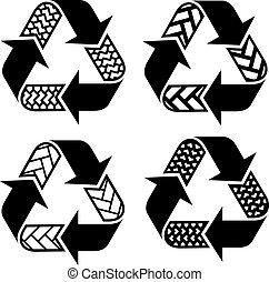 reciclar, símbolos, vector, rastro, neumático