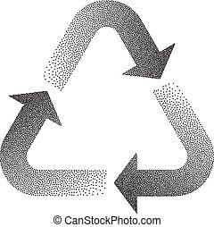reciclar, stipple, efecto