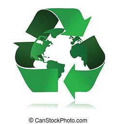 reciclar, tierra, dentro, logotipo
