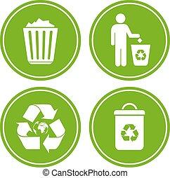reciclar, tirar basura, icono