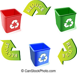 reciclar, uso repetido, reducir