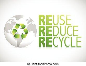 reciclar, uso repetido, señal, globo, reducir