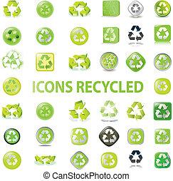 reciclar, vario, iconos