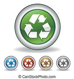 reciclar, vector, icono