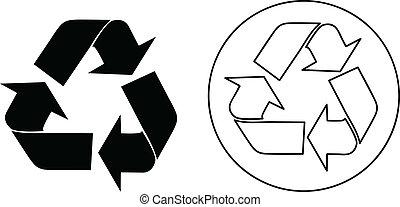 reciclar, vector, señal