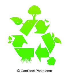 reciclar, vector, señales