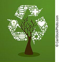 reciclar, verde, concepto, árbol