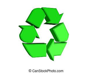 reciclar, verde, señal