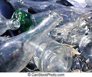 reciclar, vidrio, montón, botella, patrón