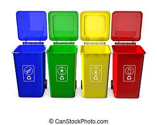 reciclar, w, cajones, aislado, colorido