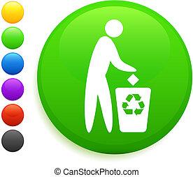 recicle, ícone, ligado, redondo, internet, botão