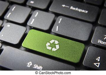 recicle, ambiental, teclado, fundo, tecla