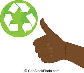 recicle, bom, sinal mão