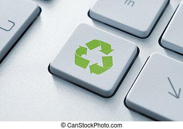 recicle, botão, ligado, teclado