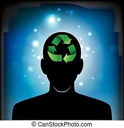 recicle, cabeça, ícone