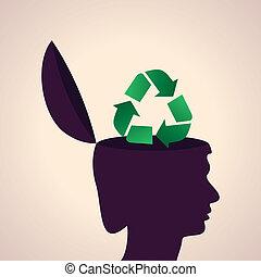 recicle, cabeça, símbolo, human