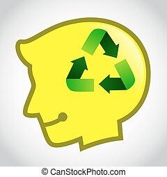 recicle, cabeça, silueta, símbolo, human