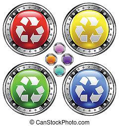 recicle, coloridos, símbolo, botão