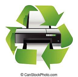 recicle, conceito, impressora
