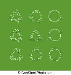 recicle, jogo, ícones